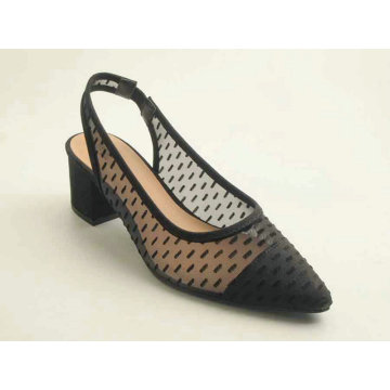 Ladies mesh upper pointy toe heel shoe