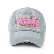 Women custom 6 panel jean washed baseball cap