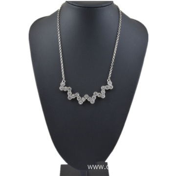 Handmade Silver And Gold Plated Alloy Rhinestone Necklace
