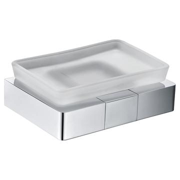 Sqaure heavy soap holder with frosted glass
