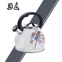 White Bird Pattern Stainless Steel Whistling Tea Kettle