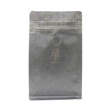 Food Ziplock Kraft Brown Paper Block Bottom Tea Package Pouch With Design
