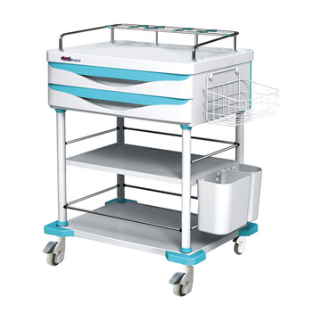 Hospital Steel ABS 2-Layer Drawer Treatment Trolley
