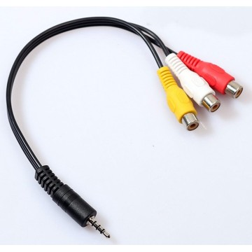 3.5mm AV Male to 3RCA Female M/F Audio Video Cable Stereo Adapter Cord cable
