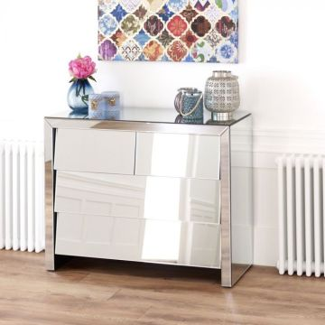 Venetian Mirrored 3 Drawer Slant Chest