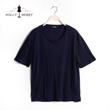 Casual Regular Short Sleeve Navy Casual T-shirts Women