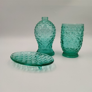 Blue color embossed glass bathroom  accessories