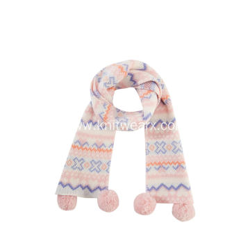 Girl's Knitted Jacquard PomPom Ends Christmas Scarf