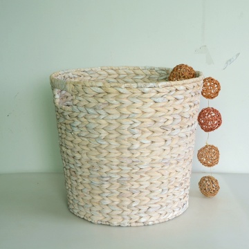 round wash white water hyacinth storage basket