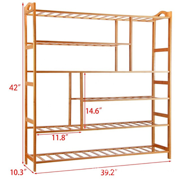 Bamboo Shoe Rack 6-Tier Entryway Shoe Shelf Storage Organizer Free Standing Shelves