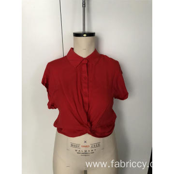 Short-sleeved shirt with rolled edge