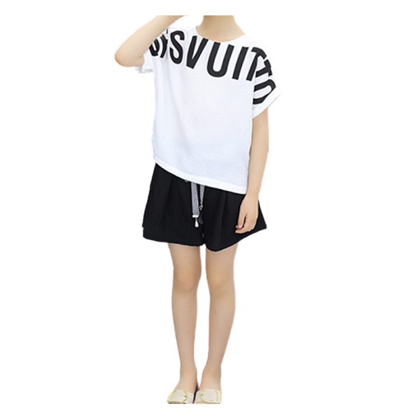 Letter Printed Leisure Short-sleeved Suit