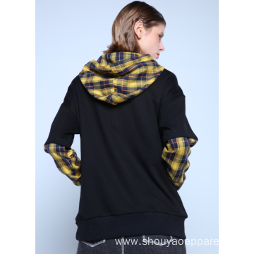 CONTRASTING CHECKED WITH POUCH POCKET HOODIE
