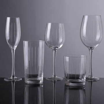 Crystal Engraved Water Glass Goblets Clear Glass Decanter