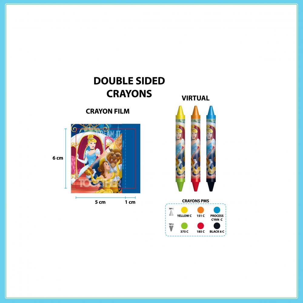 Disney Princess Blister Card 4 Double Sided Crayons 2