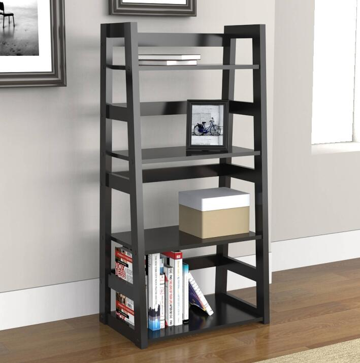 Modern Wooden Barrister Leaning Bookcase shelves