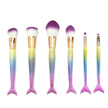6pc Mermaid Makeup Cosmetic Brush Set