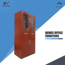 Wooden color steel cabinet with two drawers
