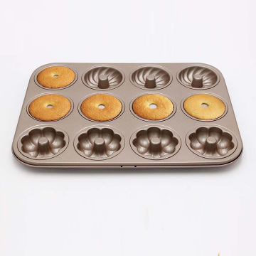12-Cavity Carbon Steel Doughnut Bakeware for Baking
