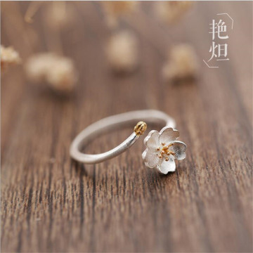 New Creative Fashion Popular Flower 925 Sterling Silver Jewelry Art Fresh Cherry Blossom Personality Opening Rings SR589