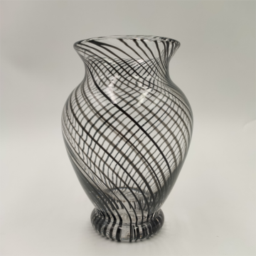 Black Swirled Strip Decor Glass Vase