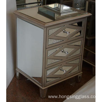 Antique Gold MDF Mirrored 3 Drawer Bedside