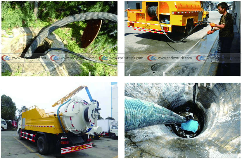 combination vacuum jetting truck working situation