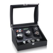 Black Carbon Fiber Watch Winder Storage 11 Watches