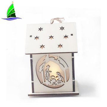 LED Light Wood House Hanging Decoration