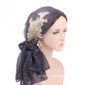 Silky bonnet hat long pattern headwrap bandanas