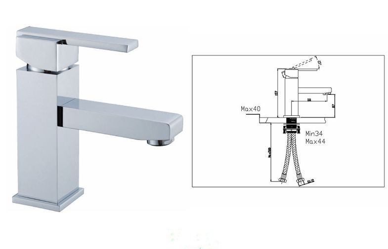 4a55 Single Hole Bathroom Sink Faucet Square Deck Mounted Faucet For Bath Tub