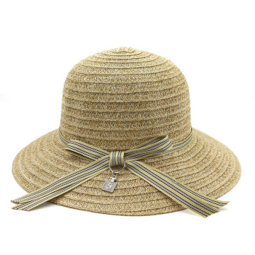Light&portable beach straw hat with large bowtie