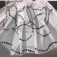 100% polyester black dot flocking printed tulle fabric