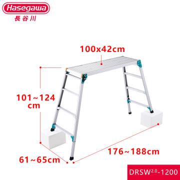 HASEGAWA Work anodized Platform Aluminum Step Ladder Drywall Safe Heavy Duty Portable Bench Folding Ladders Stool mint green