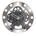 Round  Silver Big Black Gear Clock