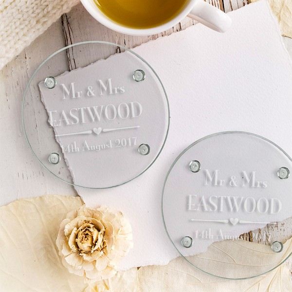 Decorative Wedding Engraved Round Glass Coaster