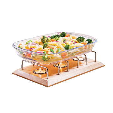 rubber wood food warmer