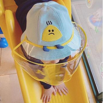 Cartoon faceshield kids outdoor bucket hat plastic