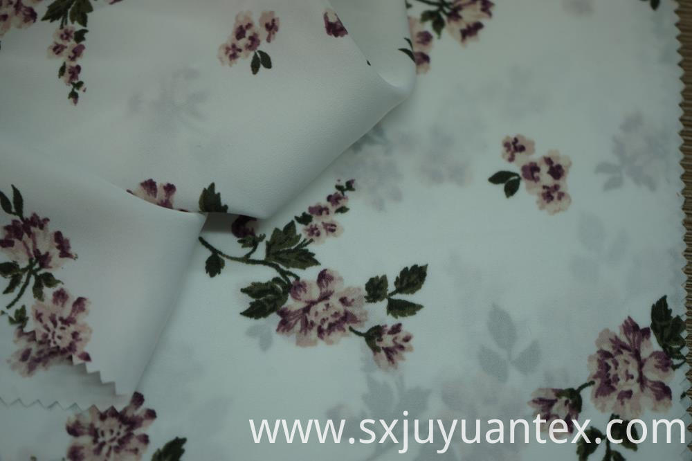 Flower Print on Hammered Satin Fabric