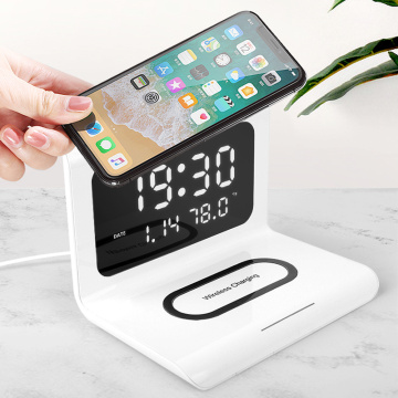 New 3 In 1 Qi Fast Wireless Charger Dock Station Clock Function Desk Fast Charging For IPhone XR XS Max 11 For Samsung S10 S20