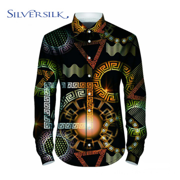 Polyester Printed Classic Long Sleeve Men Custom Shirt