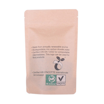 Stand up compostable paper bag with clear window