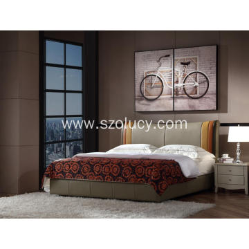 Tri-colour Leather Upholstered Bed