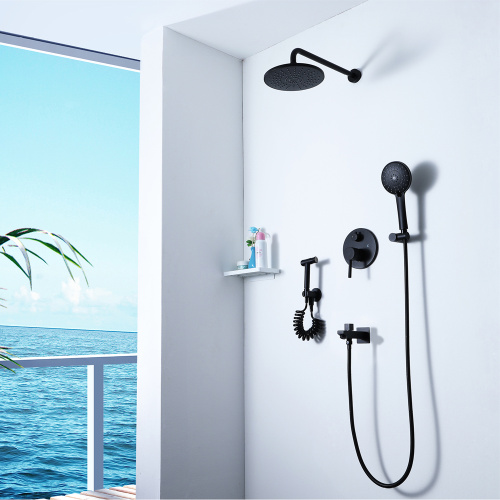 HIDEEP Black Shower Faucet Set with Bidet Faucet