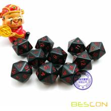 Set of 10pcs Black 20 Sides Dice Black Opaque D20 with Red Numbers 10pcs Set