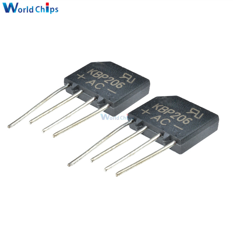 5pcs Diode Bridge Rectifier 600V 2A KBP206G KBP206 SIP-4 Single Phase
