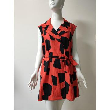 Printed Viscose/Nylon/Linen Dress with Buttons