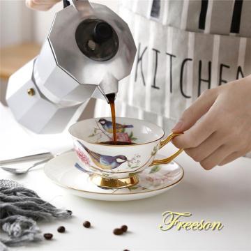 Pastoral Bird Bone China Tea Cup Saucer Spoon Set 200ml British Cafe Porcelain Coffee Cup Advanced Ceramic Teacup Drop Shipping