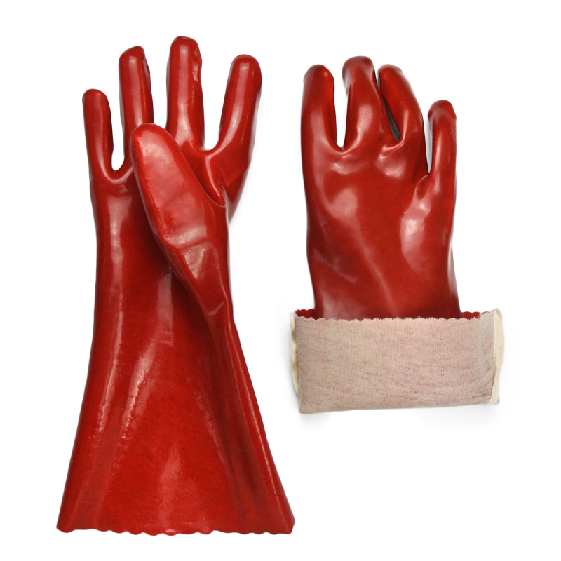 Red PVC coated gloves cotton linning smooth finish14''