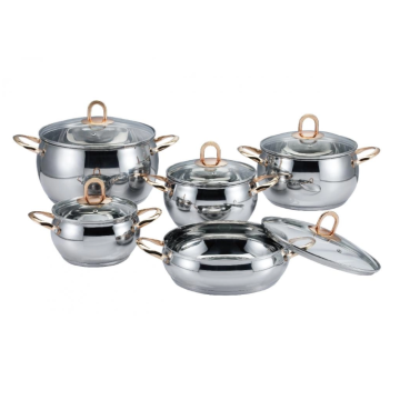 Stainless steel apple-shaped casserole with oval handle set